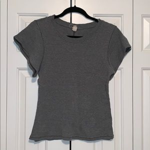 Free People Grey Flutter Sleeve  T-Shirt,  Large